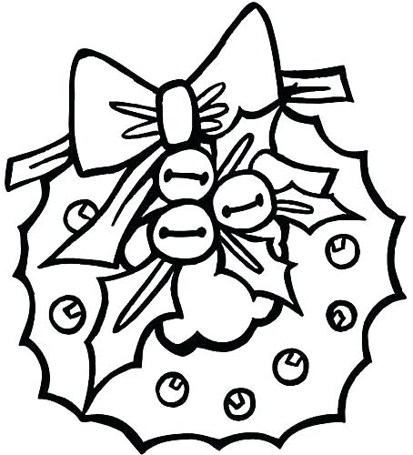 Wreath Christmas Coloring Page for Preschoolers