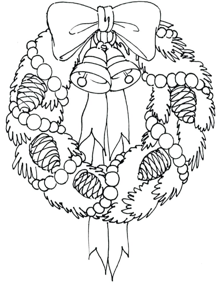 Wreath - December Coloring Pages