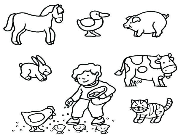 Baby Farm Animals Coloring Page