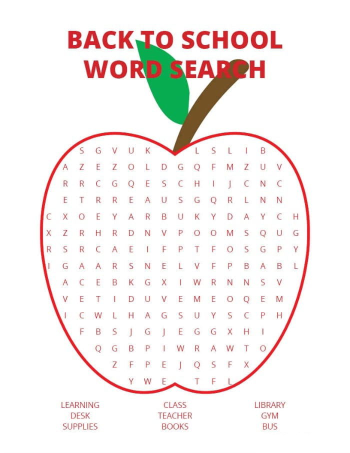 Free Printable Back to School Word Search | Word Search ...