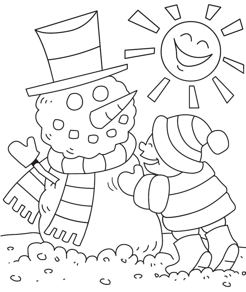 Building Snowman January Coloring Page