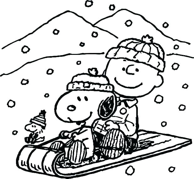 Charlie Brown Winter Coloring Page