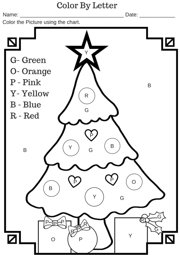 Christmas Color By Letter Coloring Pages