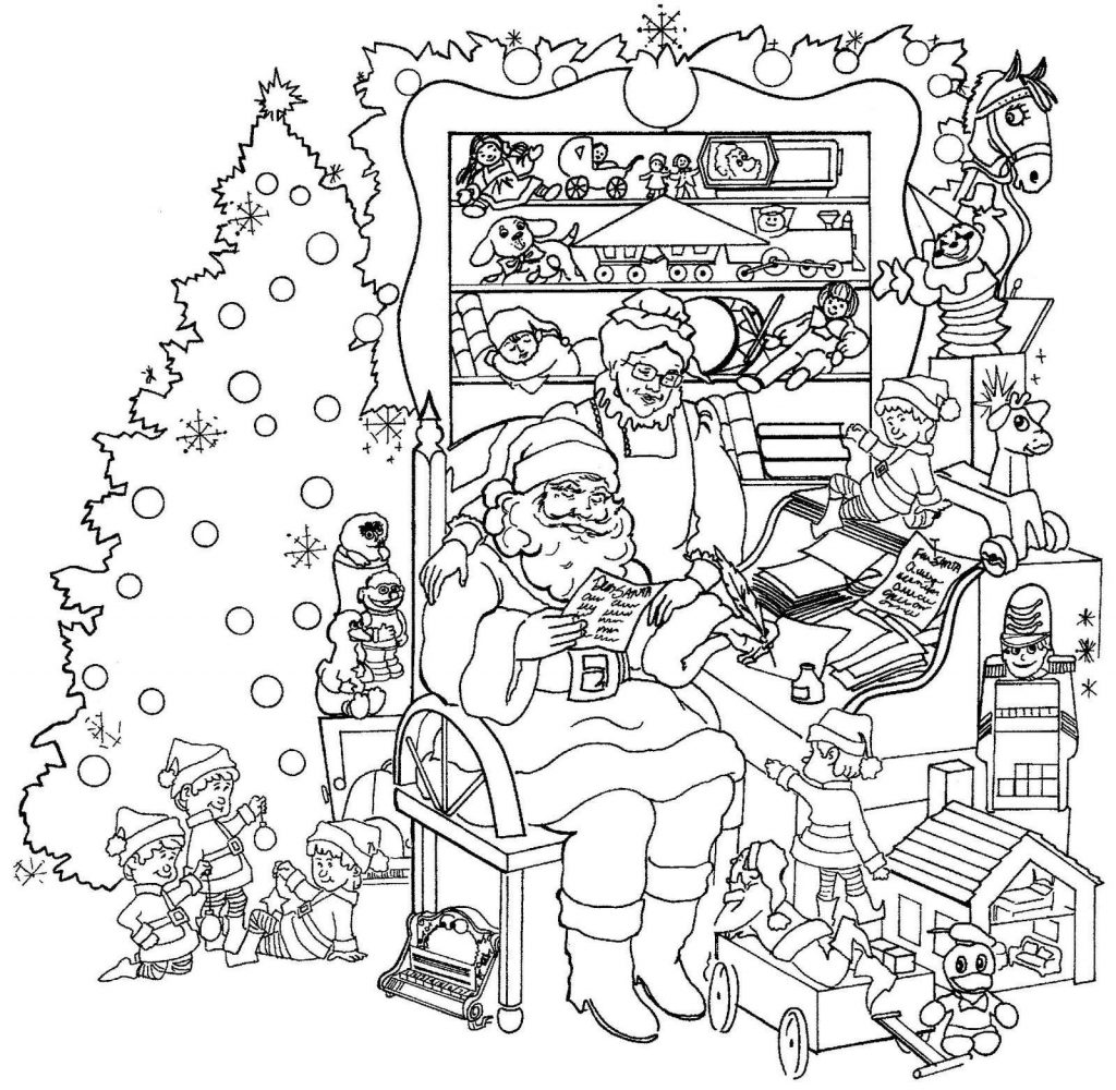 Christmas Scene Coloring Pages for Adults