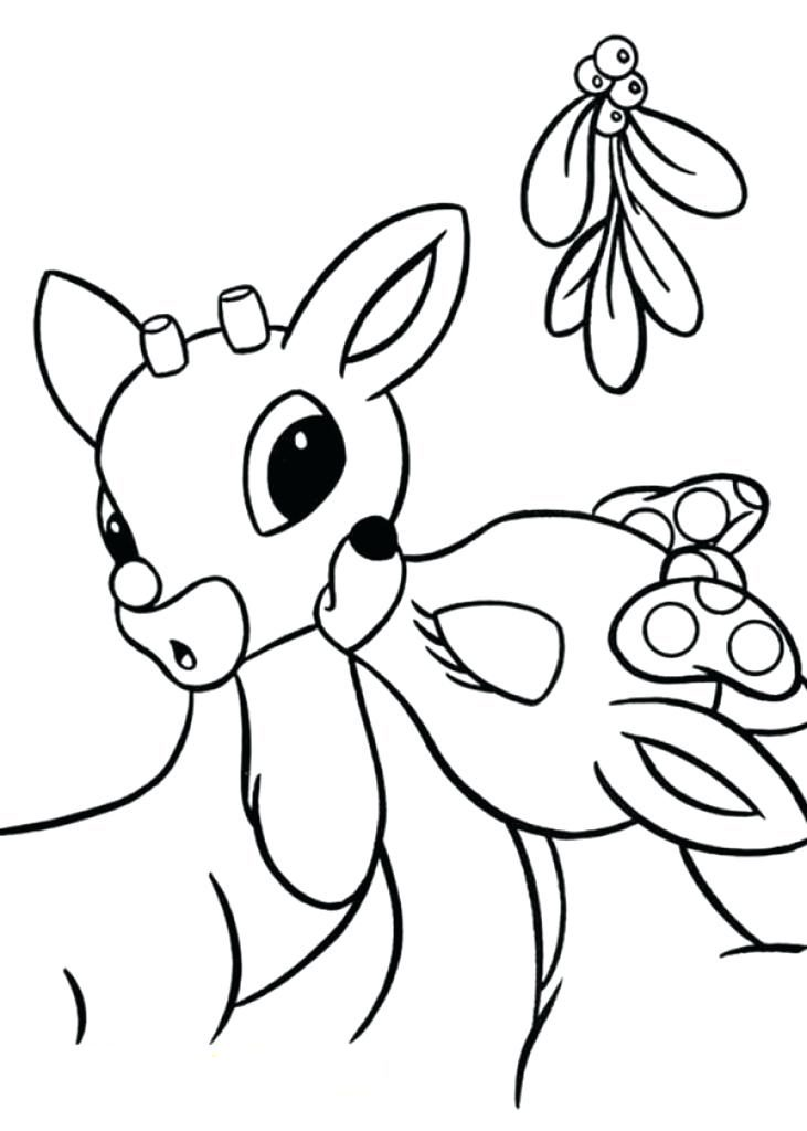Deer under Mistletoe Coloring Page