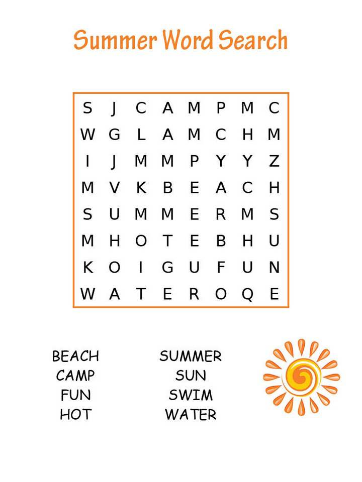 Easy Summer Word Search Puzzle