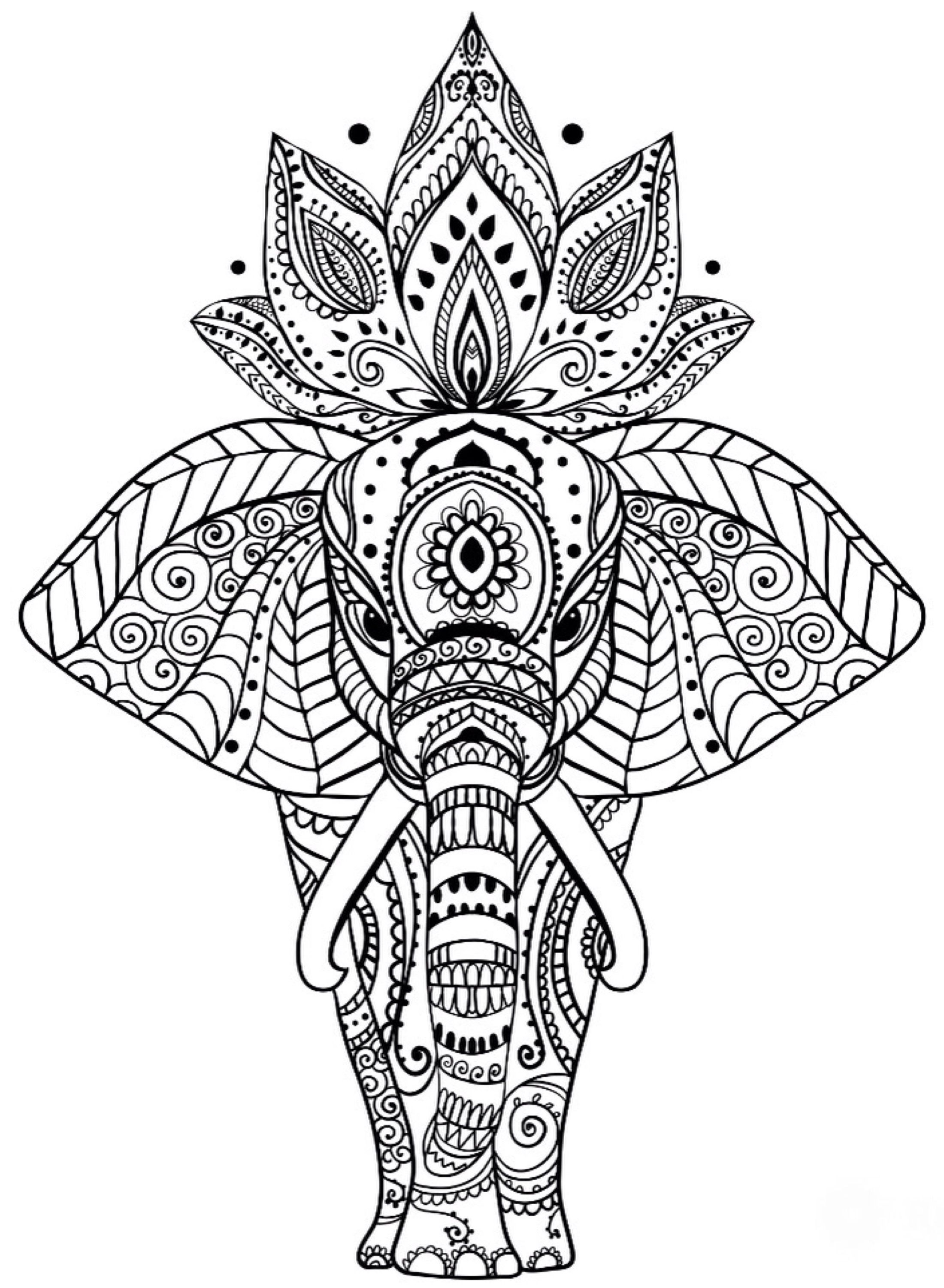 Best Adult Printable Elephant Difficult Hard Zen Coloring Pages ...   3000x2200