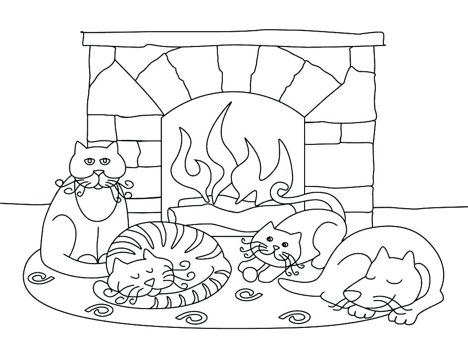 Fireplace in January Coloring Page