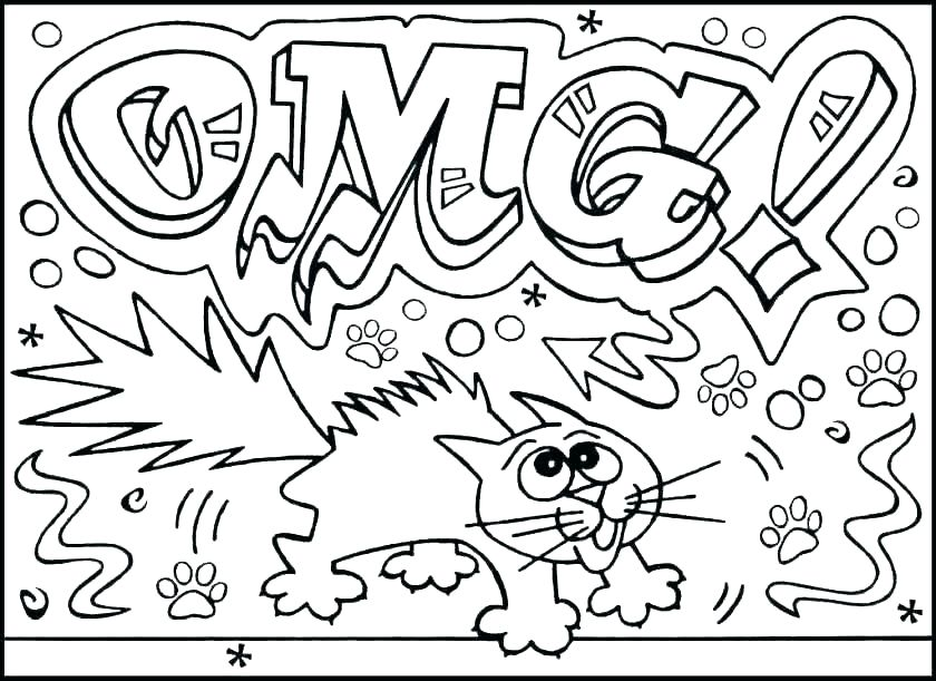Funny Coloring Pages OMG cat