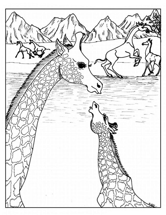 Giraffe Coloring Pages for Adults