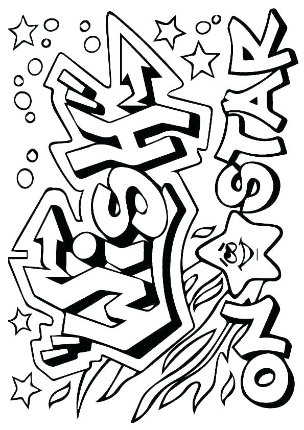Graffiti Coloring Pages Wish on a Star