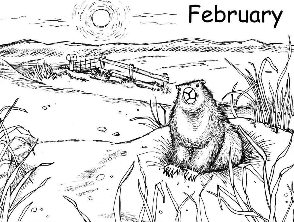 Groundhog Day - February Coloring Pages