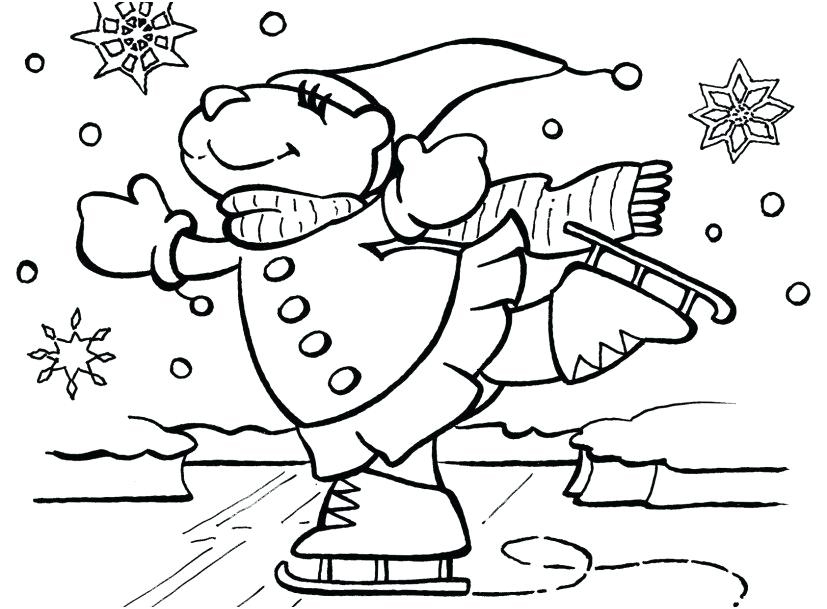 Ice Skating January Coloring Pages