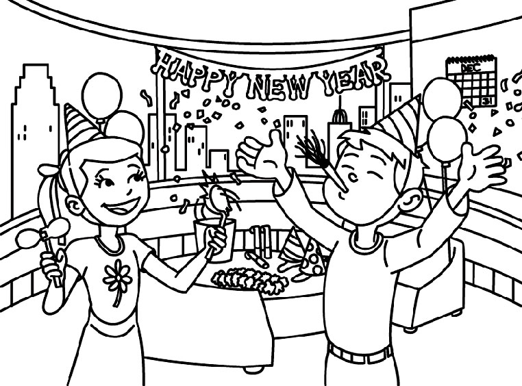 January New Year Celebration Coloring