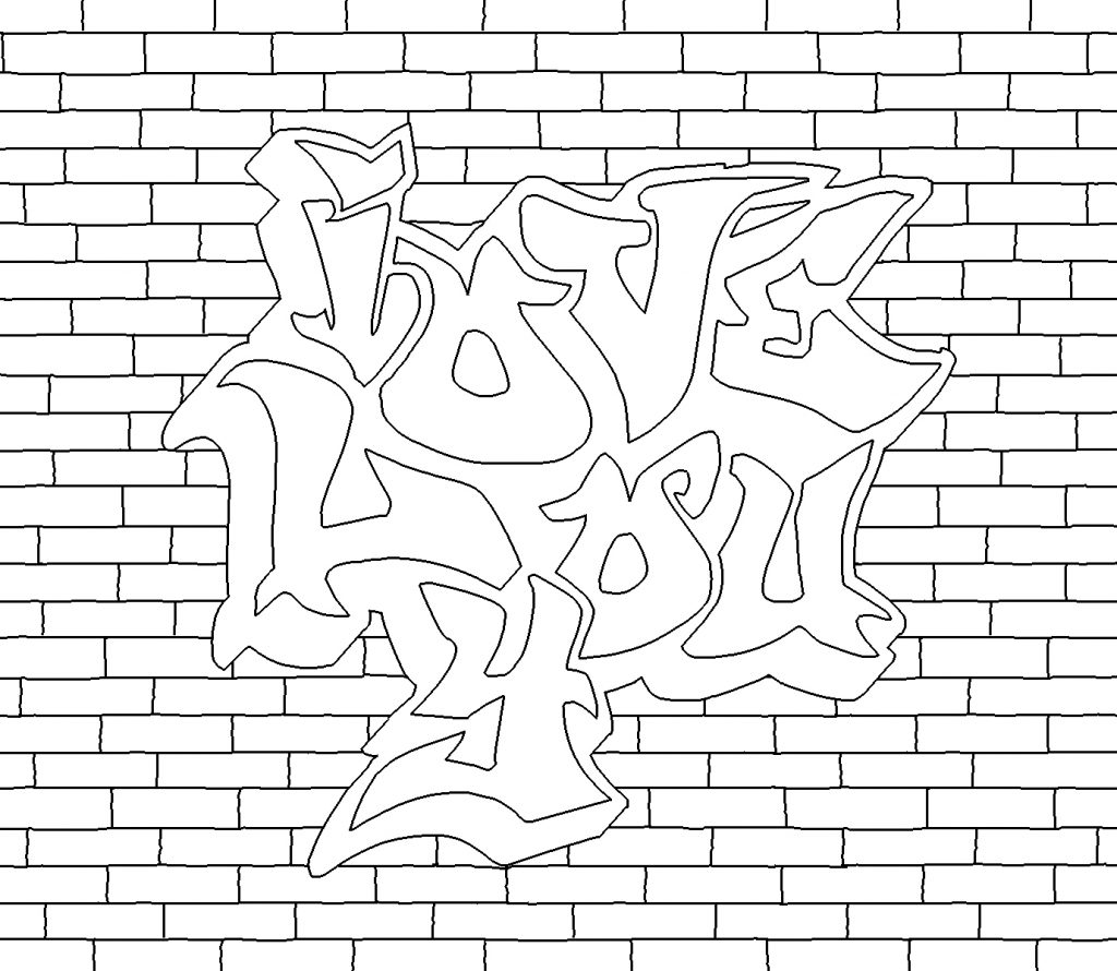 Love You - Graffiti Coloring Pages