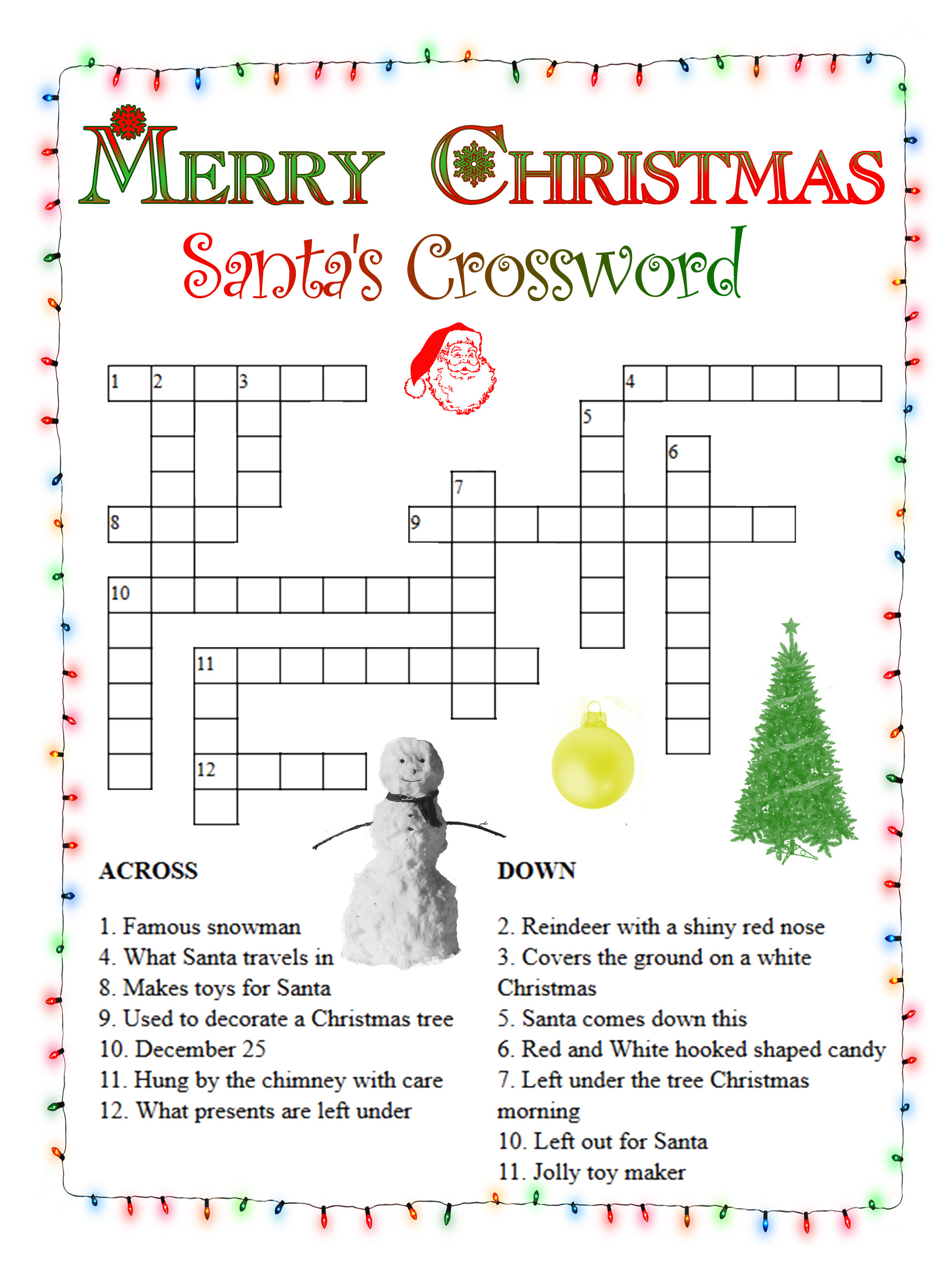 graphic about Christmas Crosswords Printable named Xmas Crossword Puzzles - Easiest Coloring Web pages For Small children