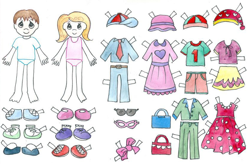 Printable Boy and Girl Dress Up Paper Doll