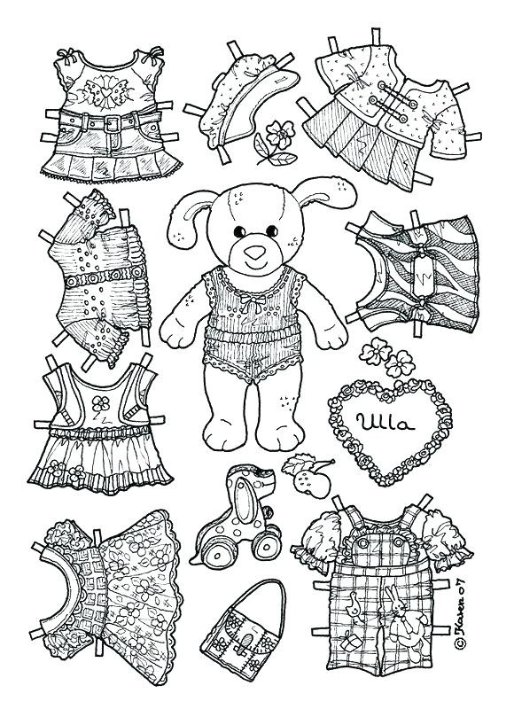 Printable Dress Up Paper Doll Bunny