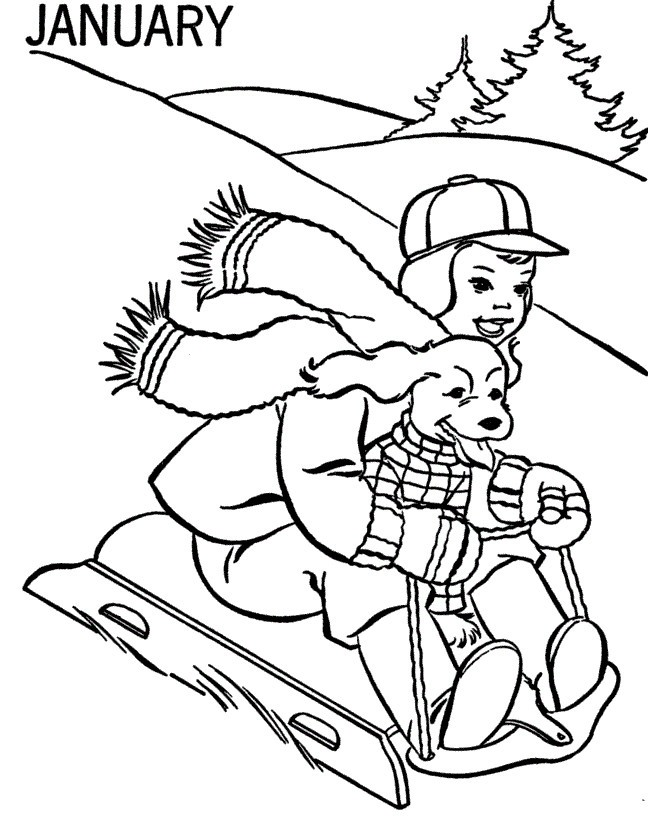 Sledding January Coloring Pages
