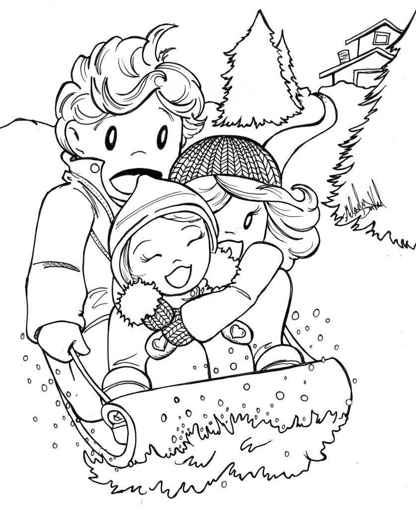 Sledding in January Coloring Page