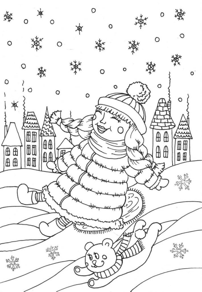 Snow in January Coloring Page