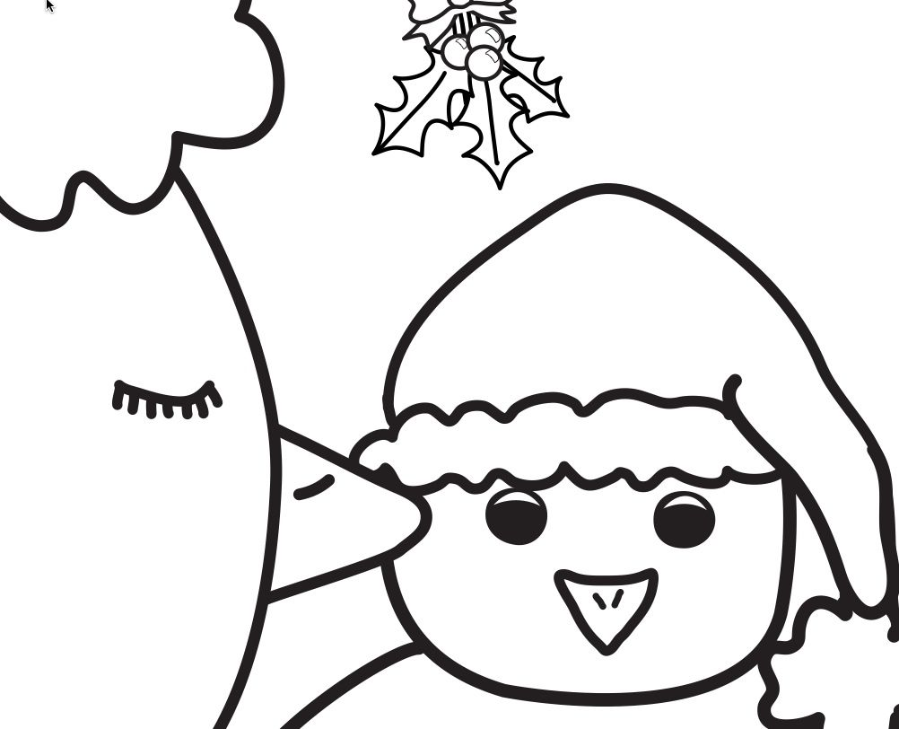 Snowman Mistletoe Coloring Pages