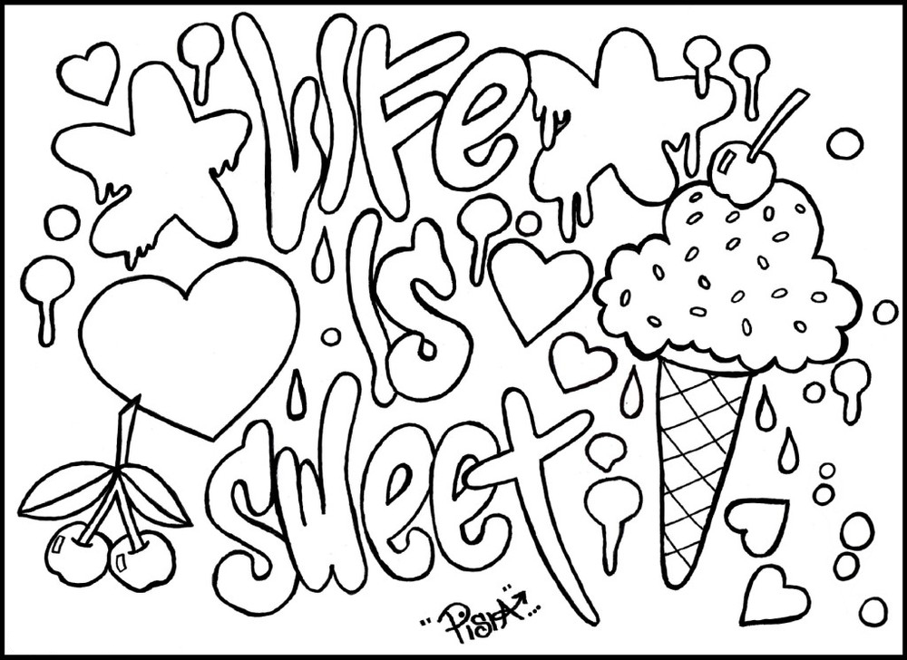 Sweet Life Graffiti Coloring Pages