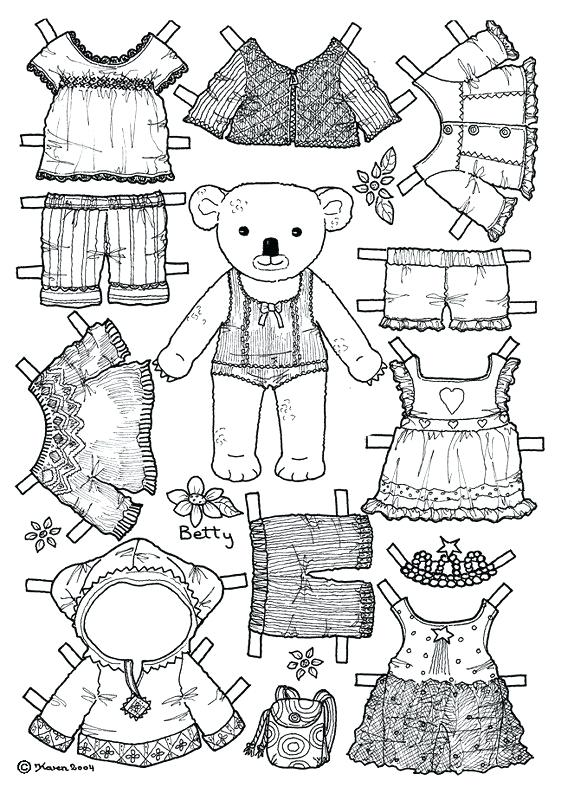 Teddy Bear Paper Doll Template