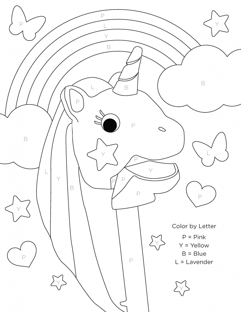 Unicorn - Color By Letter Coloring Pages