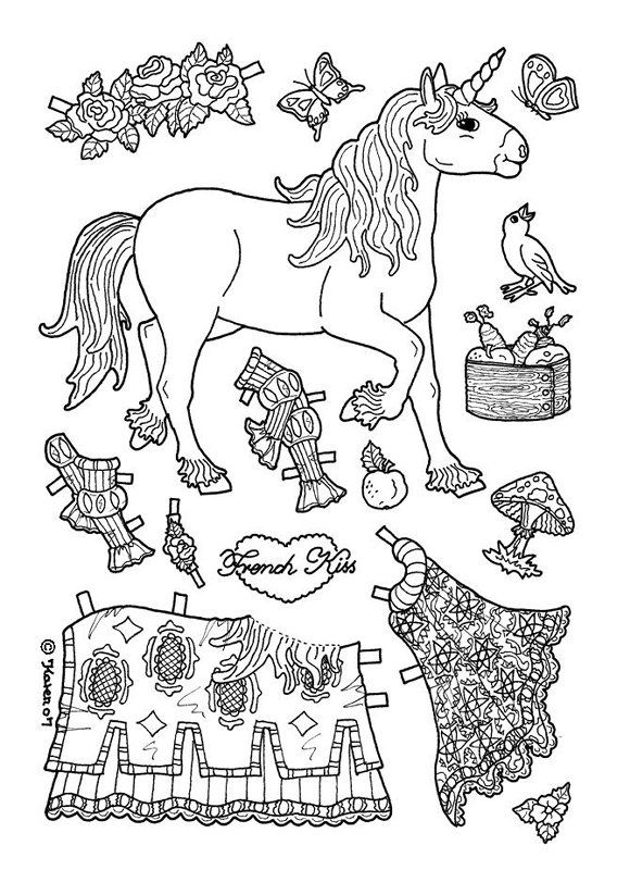 Unicorn Paper Doll Template