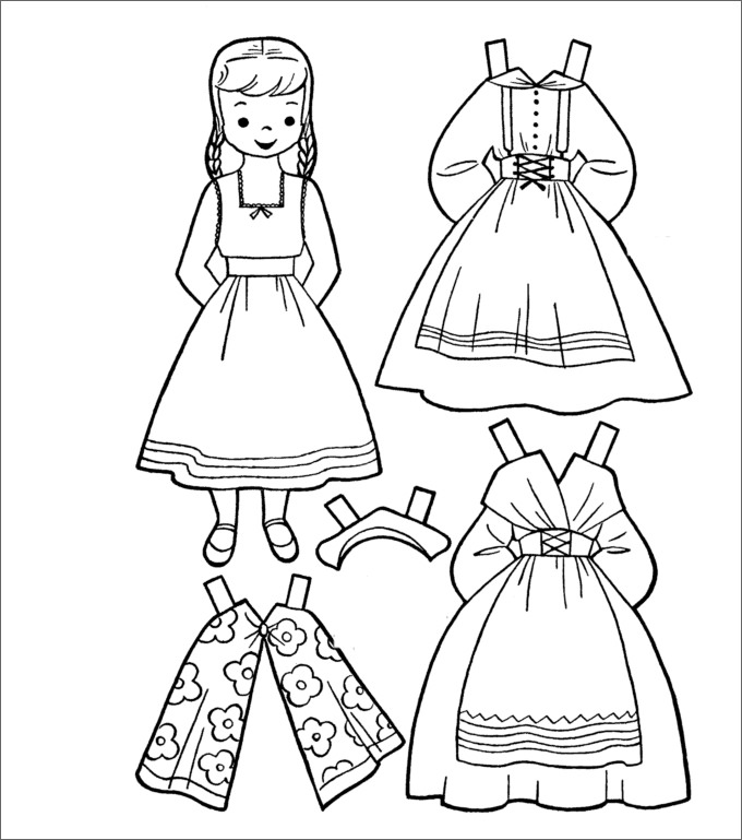 photograph regarding Printable Doll identified as Paper Doll Template - Least complicated Coloring Web pages For Youngsters
