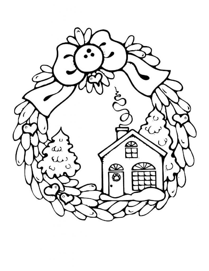 Wreath January Coloring Page