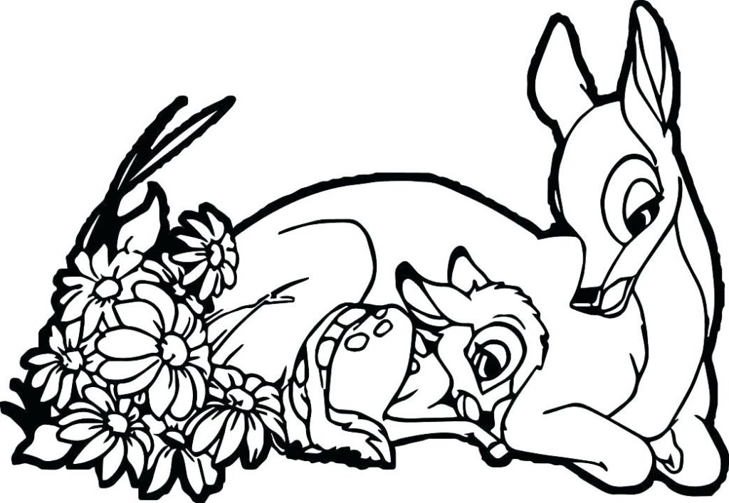 Baby Deer and Mom Cute Coloring Pages