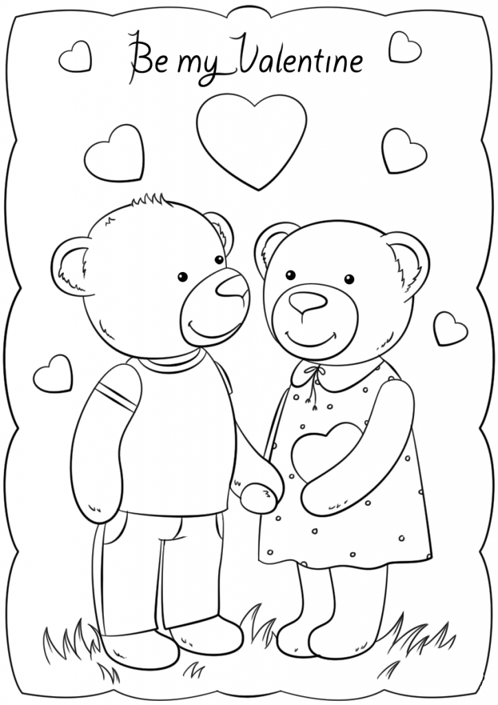 Be My Valentine Bears Card to Print