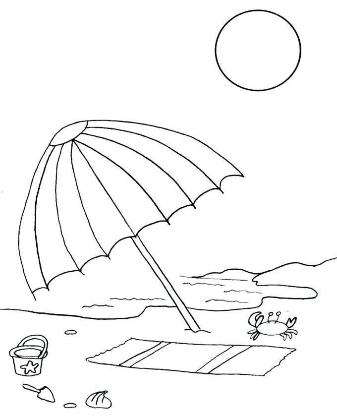 Beach Umbrella Coloring Page