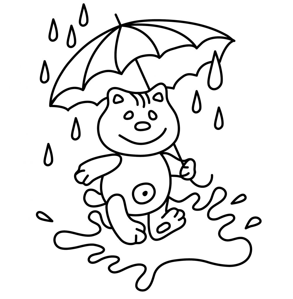 Bear with Umbrella Coloring Page