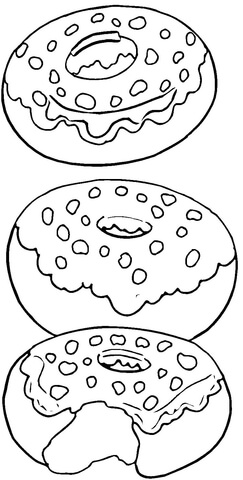 Bite a Donut Coloring Page