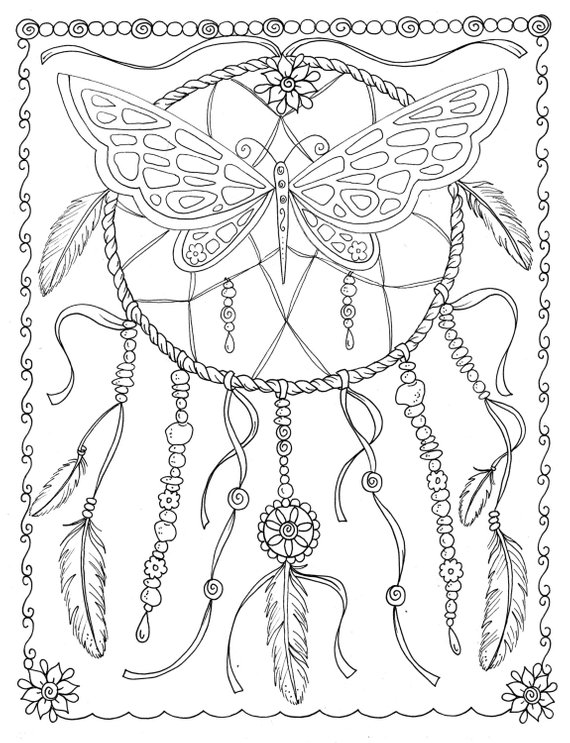Butterfly Dream Catcher Coloring Page