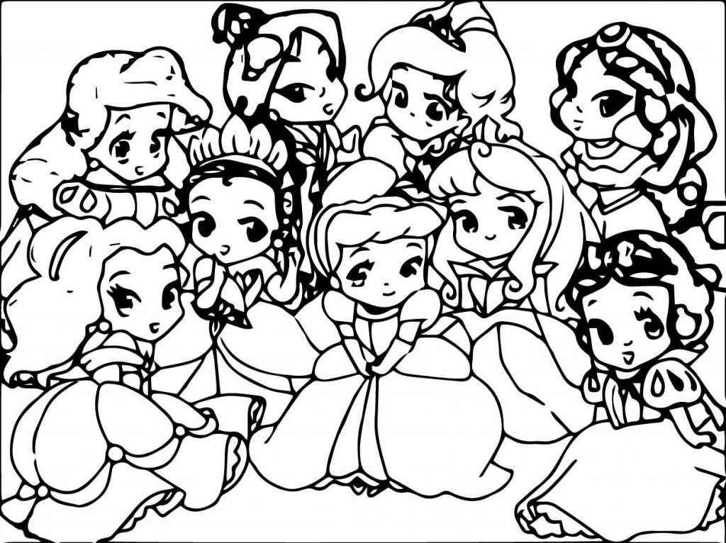 Cute Baby Disney Princess Coloring Page