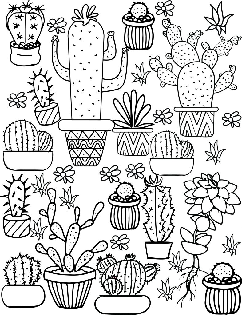 Cute Cacti Coloring Pages