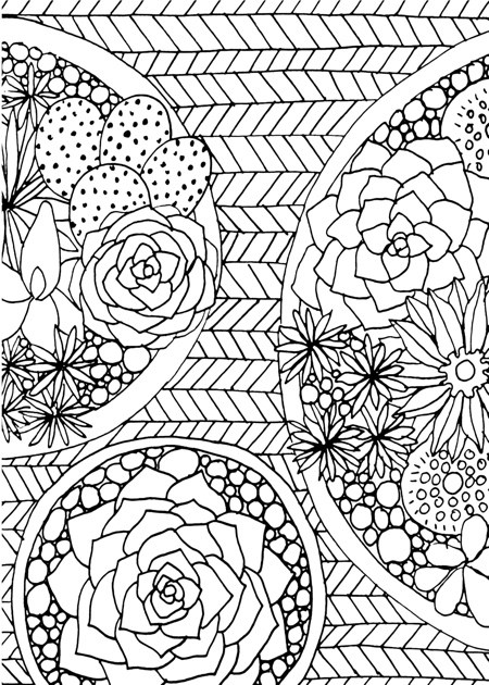Cute Flower Coloring Pages for Adults