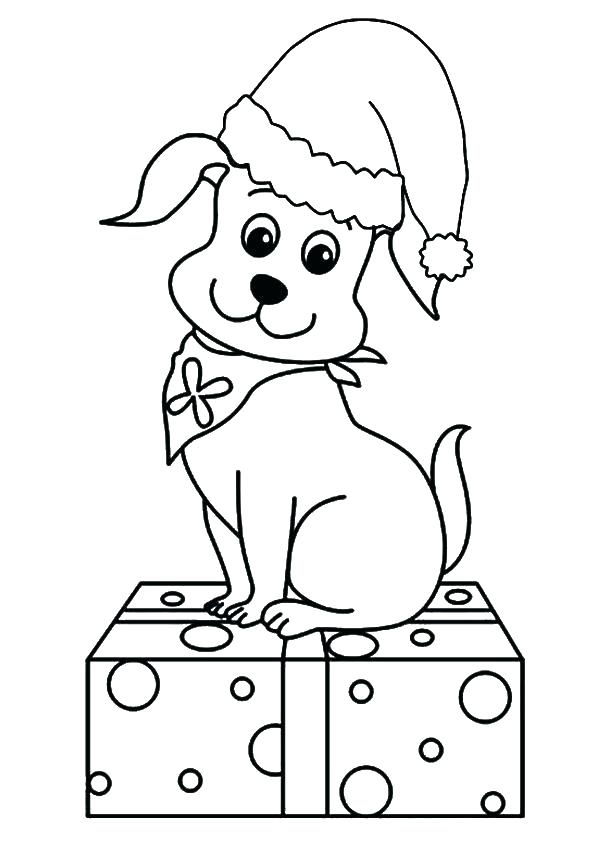 Cute Puppy For Christmas Coloring page