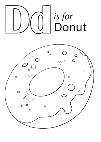 D is for Donut Coloring Page