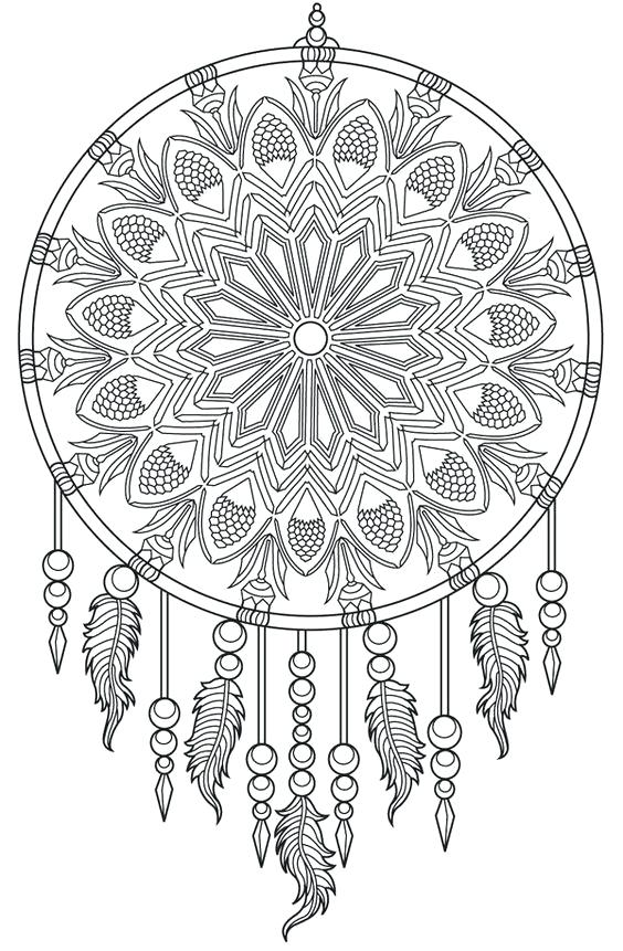 Detailed Dream Catcher Coloring Page