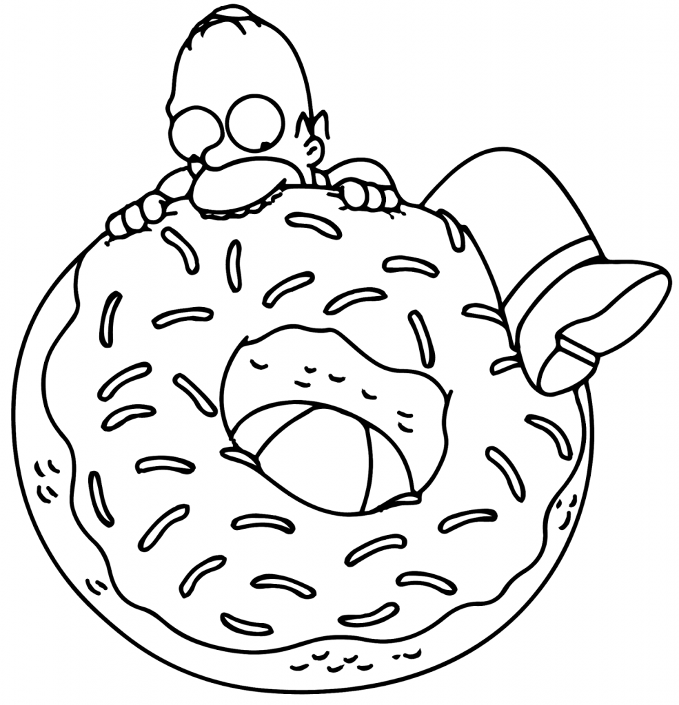 Donut Coloring Pages - Homer Simpsons
