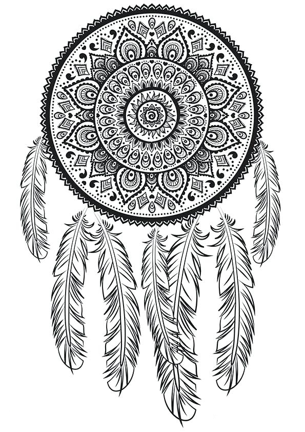 It is a photo of Playful Printable Adult Coloring Pages Dream Catchers