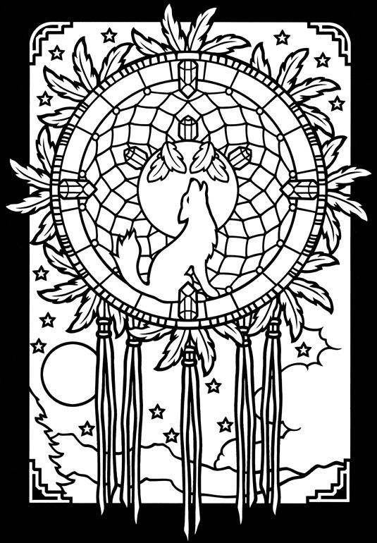This is a graphic of Bright Printable Adult Coloring Pages Dream Catchers