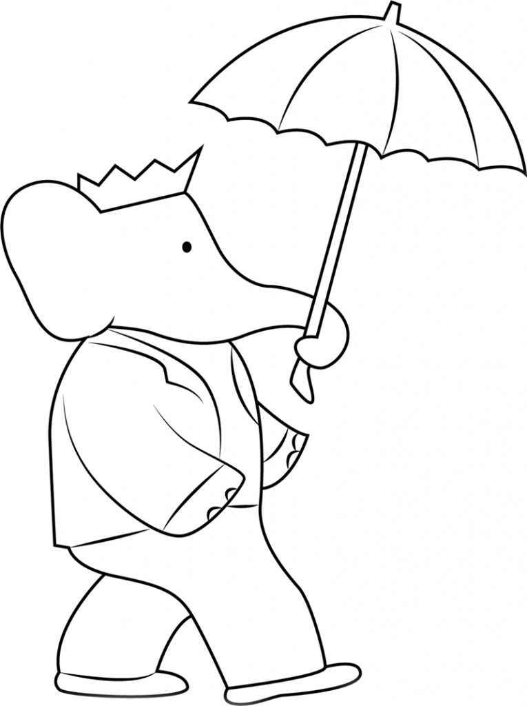 Elephant With Umbrella Coloring Pages