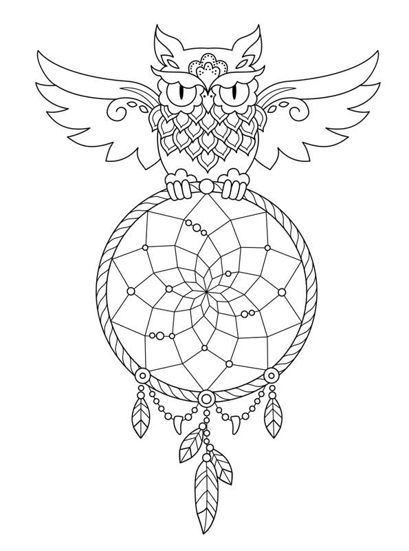 Free Owl Dream Catcher Coloring Pages