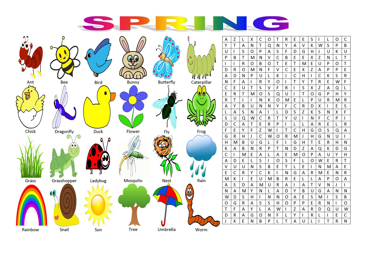 Spring Word Search Best Coloring Pages For Kids